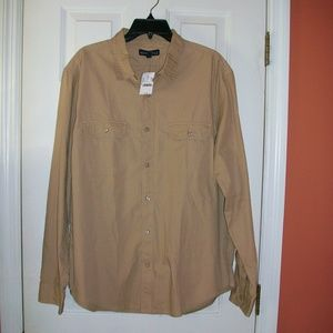 NWT Men's J. Crew LS Khaki Tan Shirt XL NEW